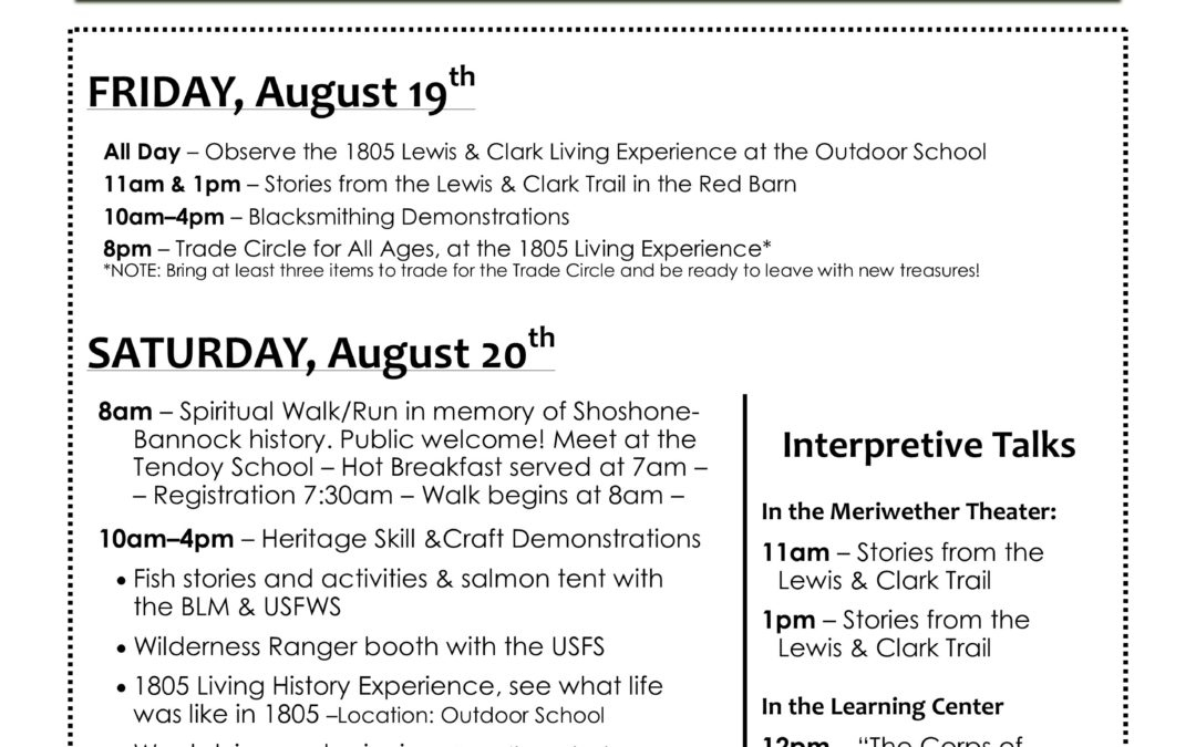 Schedule of Events – Agai'dika Heritage Days
