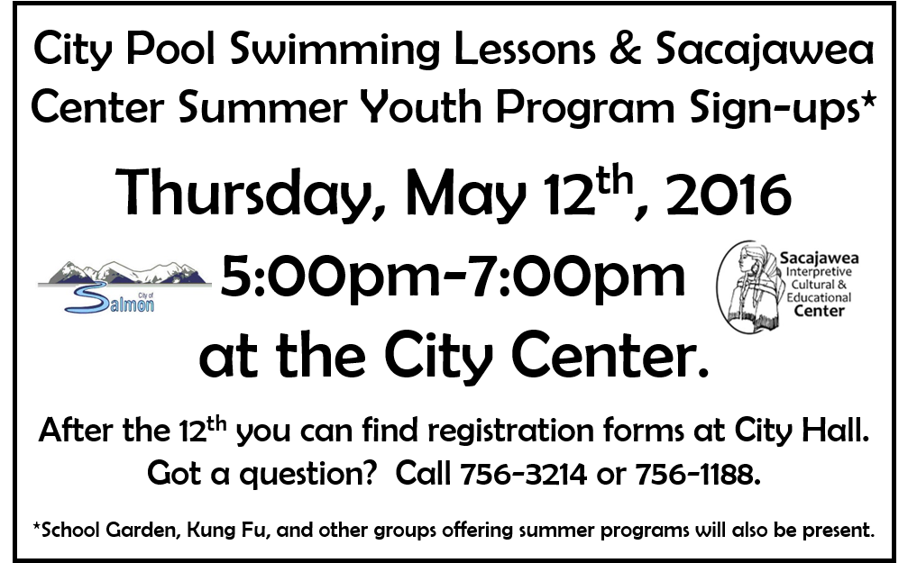 Program sign ups may 12th sacajawea center