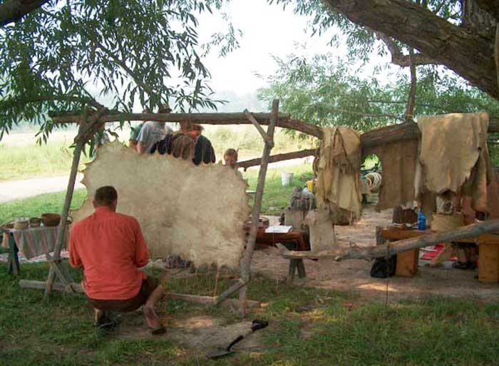 Preparing a deer hide